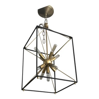 Black and Gold Glendale Rectangular Sputnik Pendant Light For Sale
