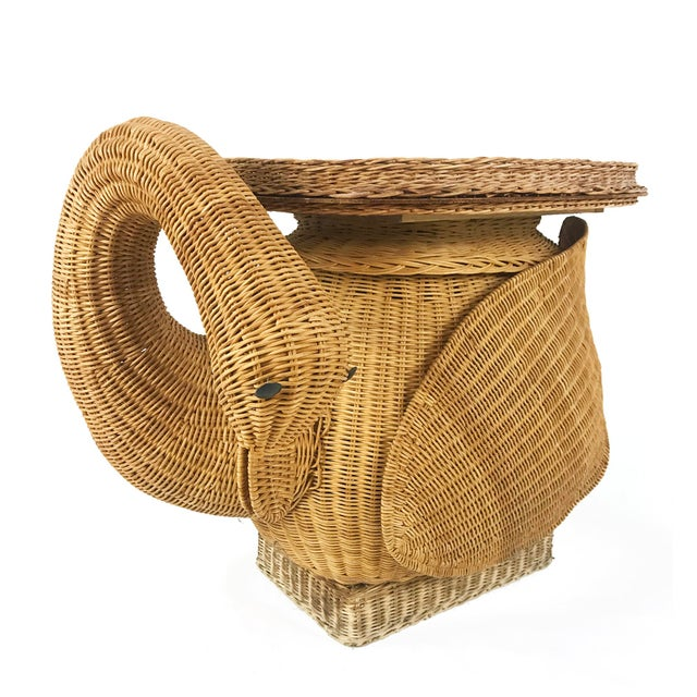 Vintage Woven Wicker Rattan Swan Goose Side Table Plant Stand For Sale - Image 4 of 6