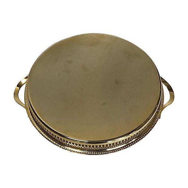 Hollywood Regency 1980s 14K Gold-Plated Pierced Serving Tray For Sale - Image 3 of 6