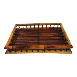 Late 20th Century Bamboo Serving Tray For Sale