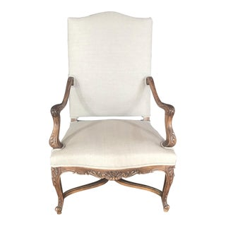 Stately 19th Century French Carved Walnut Louis XV Arm Chair For Sale