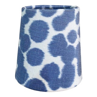 Contemporary Blue & White Leopard Ikat Chandelier Shade For Sale