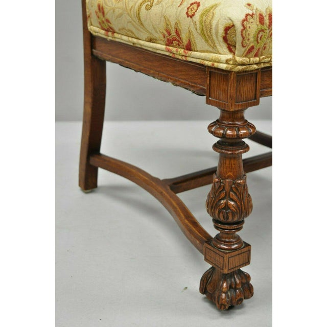 Wood Late 19th Century Vintage Carved Oak Winged Griffin Paw Foot Dining Chairs- A Pair For Sale - Image 7 of 12