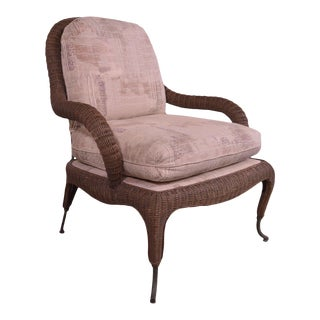 Century Hand Crafted Wicker Victorian Style Wrought Iron Lounge Chair For Sale