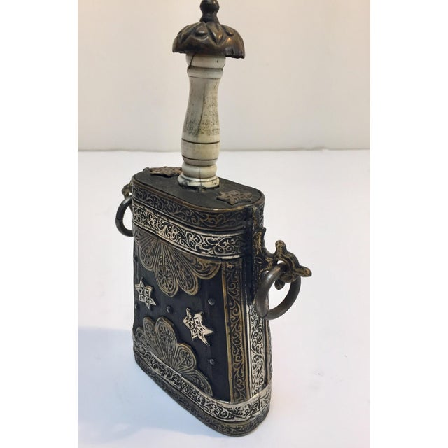 Moroccan Antique Tribal Gun Powder Case Flask For Sale - Image 10 of 12