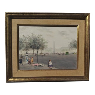 """Mid 20th Century """"Luxor Obelisk Place Del La Concorde Paris"""" Oil Painting by Andre Gisson, Framed For Sale"""