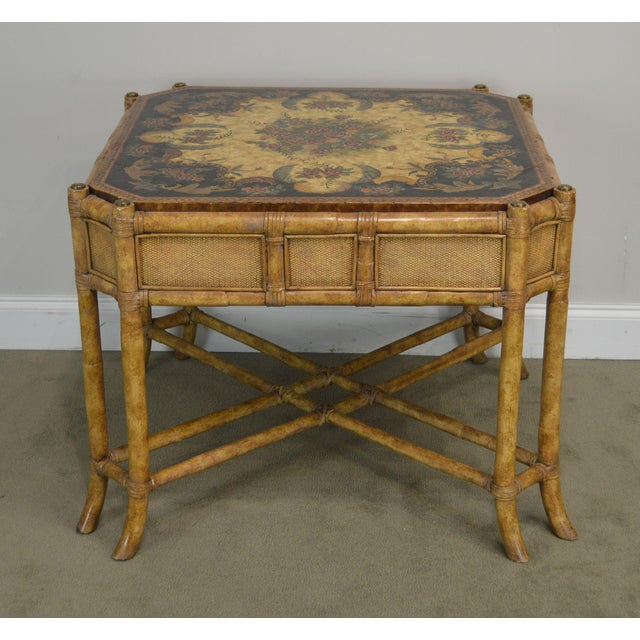 Maitland Smith Faux Bamboo Hand Painted Square Side or ...