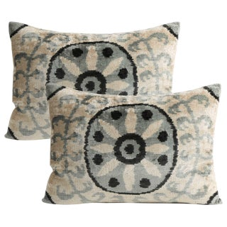 Silk Velvet Down Feather Pillow - Set of 2 For Sale