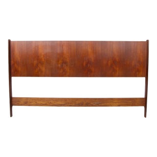 Vintage Mid Century Modern Rosewood Queen Size Headboard For Sale