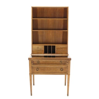 Baker Modern Petite Secretary with Bookcase on Slim Legs For Sale