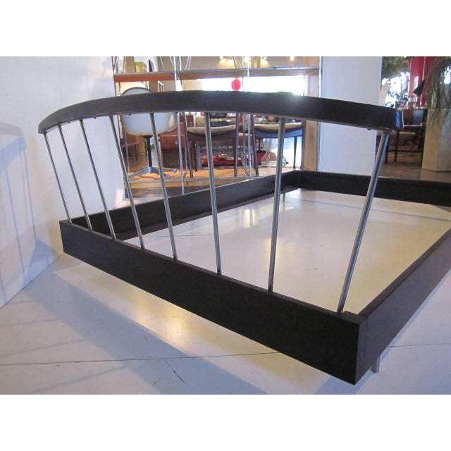 A hard to find Loewy full size bed frame complete including headboard , side and end rails with a dark ebony finish and...