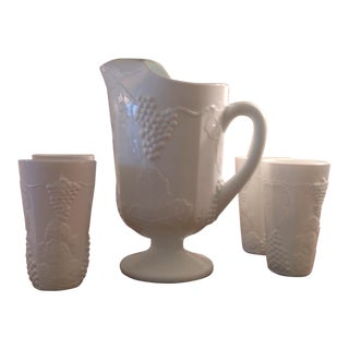 Milk Glass Pitcher & 4 Tumblers For Sale