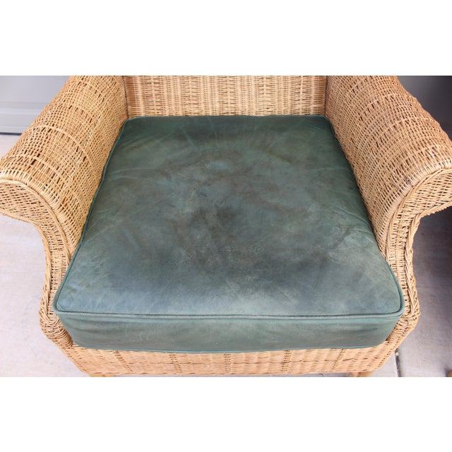 1970s Vintage Henry Link Woven Wicker Wingback Chairs- A Pair For Sale - Image 12 of 13