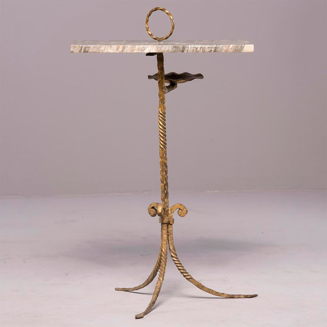 1930s Spanish Marble and Gilt Iron Side Table With Ashtray Holder For Sale - Image 5 of 12