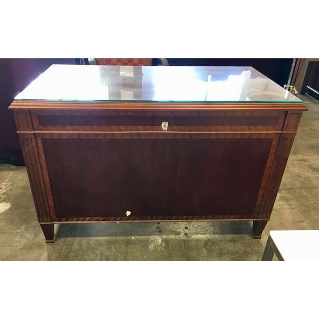 Empire Petite Tiger Wood & Mahogany Executive Desk For Sale - Image 4 of 7