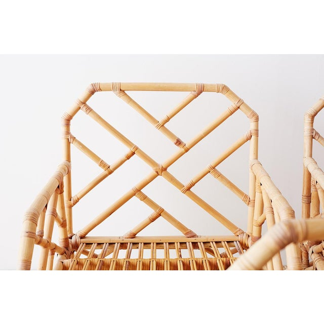 Asian Brown Jordan Chinese Chippendale Rattan Bamboo Lounge Chairs For Sale - Image 3 of 13