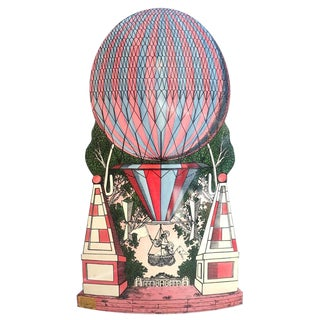 Mid-Century Hollywood Regency Style, Fornasetti Umbrella Stand, Hot Air Balloon Motif For Sale