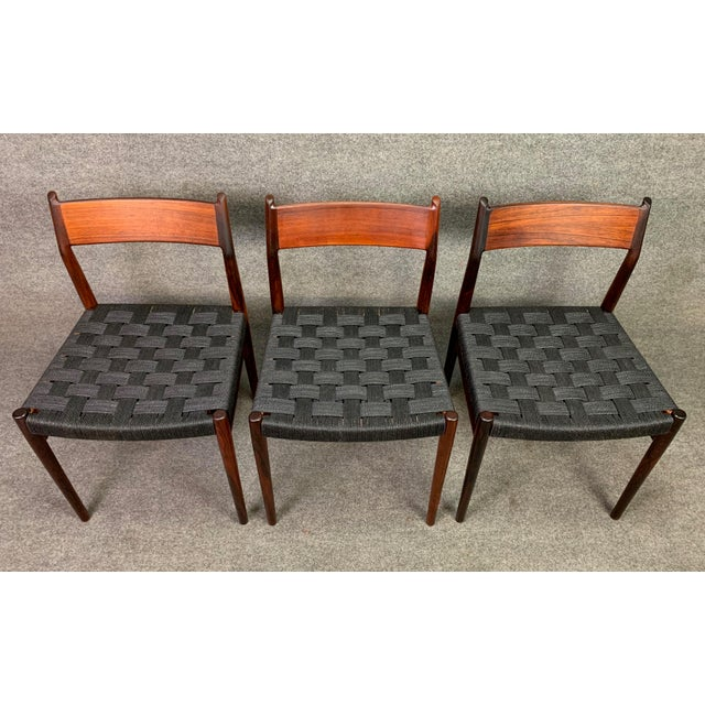 1960s Set of Six Vintage Mid Century Danish Modern Rosewood Dining Chairs Model #418 by Arne Vodder for Sibast For Sale - Image 5 of 12