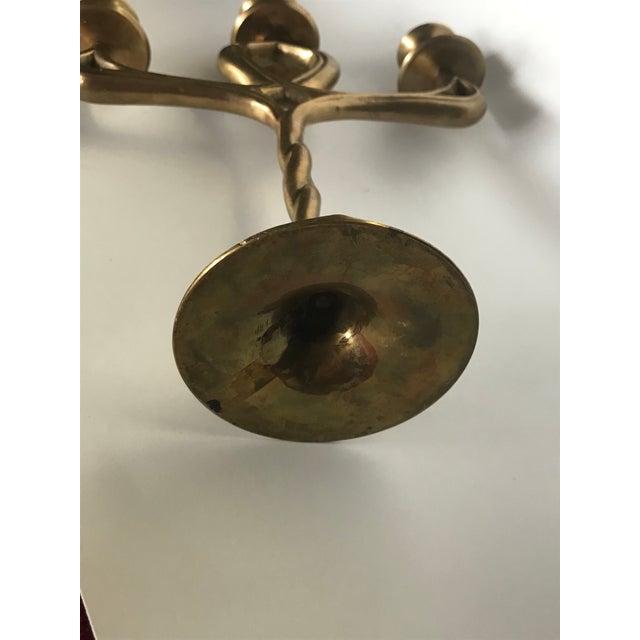 Brass Vintage Brass Twisted Celtic Candelabra For Sale - Image 7 of 9