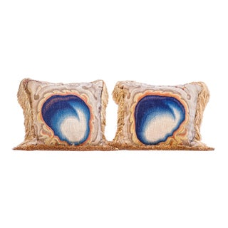 Pair of 18th C. French Aubusson Fragment Pillows For Sale