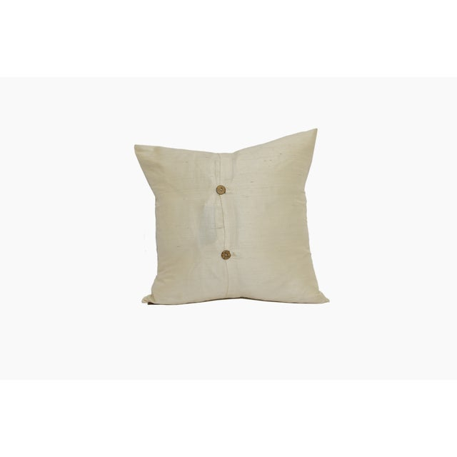 Ivory Raw Silk Square Pillow Cover - Image 4 of 4