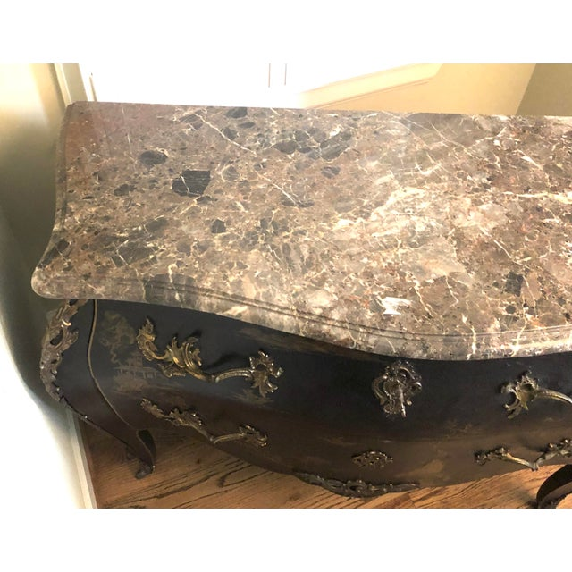 Early 20th C. Chinoisere Marbletop Louis XV Commode For Sale - Image 9 of 11