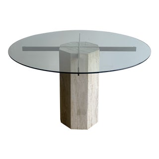 Travertine and Glass Round Dining Table For Sale