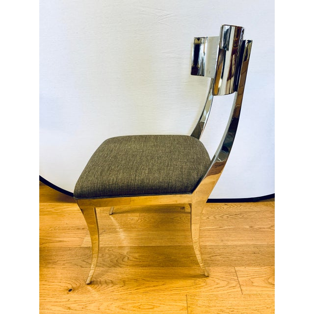 Chrome Klismos Dining Chairs - Set of 6 For Sale - Image 9 of 11