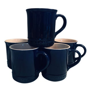 Le Creuset Indigo Blue Stoneware Signature Coffee Mugs - Set of 6 For Sale