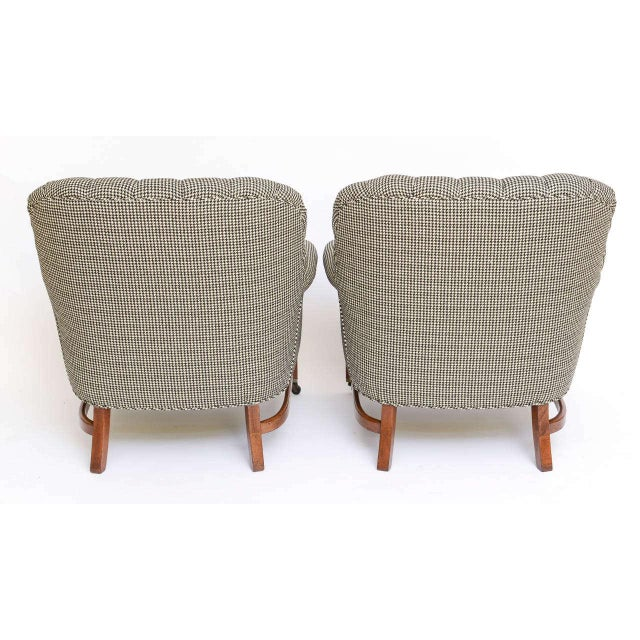 Beefy Edwardian Style Button Tufted Club Chairs in Houndstooth - Image 5 of 11