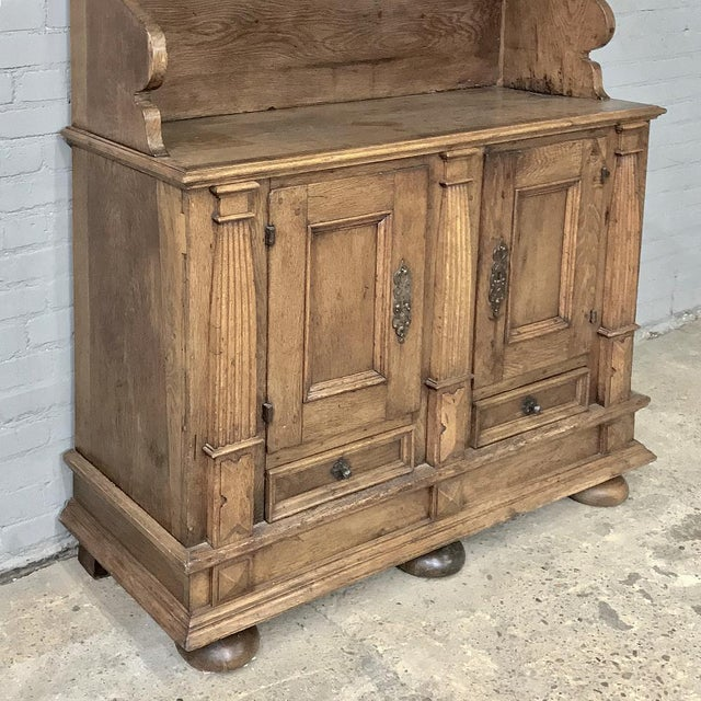 Late 18th Century 19th Century Rustic Dutch Oak Two-Tiered Buffet For Sale - Image 5 of 13