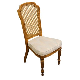 Late 20th Century Italian Neoclassical Tuscan Style Cane Back Dining Side Chair For Sale