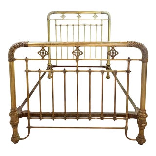 19th-20th Century Brass Bed Frame, Full Sized For Sale