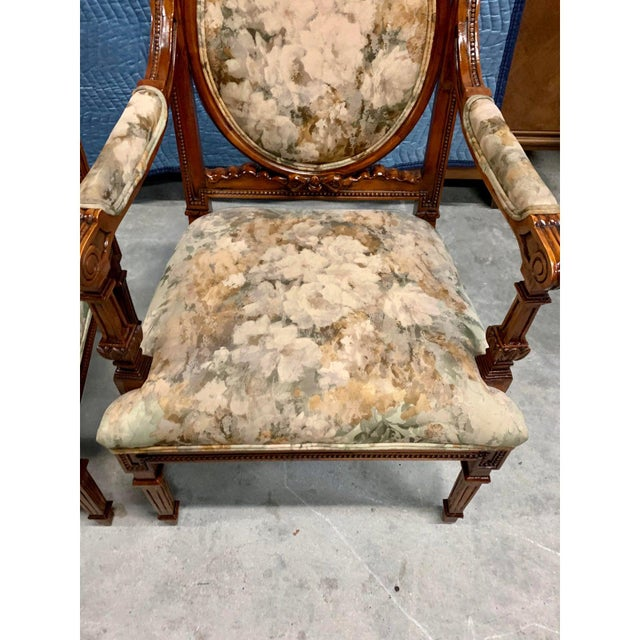 Sienna French Louis XVI Solid Mahogany Accent Chairs or Bergère Chairs 1920s - a Pair For Sale - Image 8 of 12