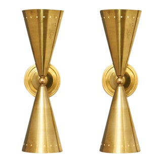 Italian Modernist Brass Sconces - a pair For Sale