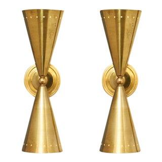 Italian Modernist Brass Sconces after Stilnovo