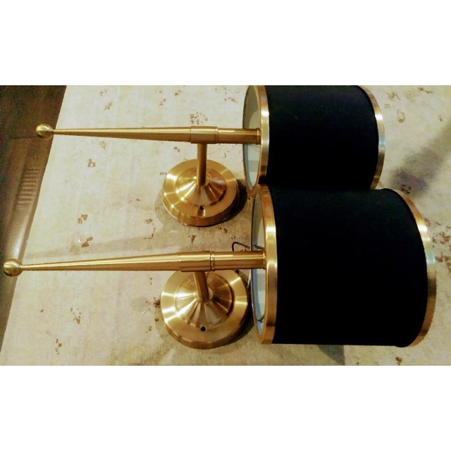 1990s Black and Gold Streamlined Wall Sconce Lights - a Pair For Sale - Image 5 of 7