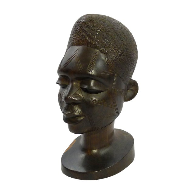 Vintage Hand-Carved African Ebony Head - Image 1 of 6