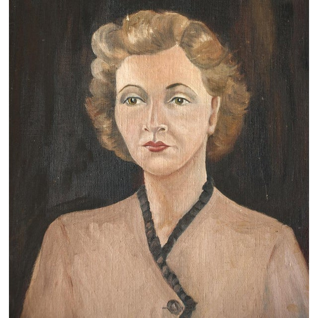 1940s Woman Oil on Board Painting - Image 3 of 5