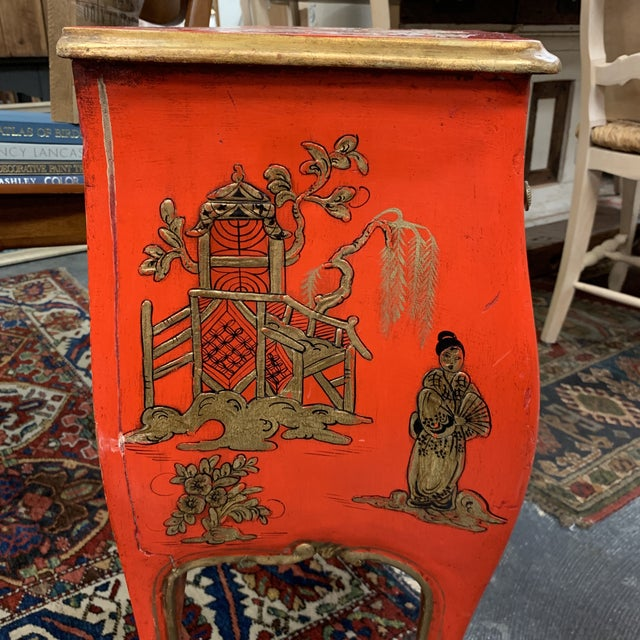 20th Century Asian Red Hand Painted Accent Table For Sale In Milwaukee - Image 6 of 8