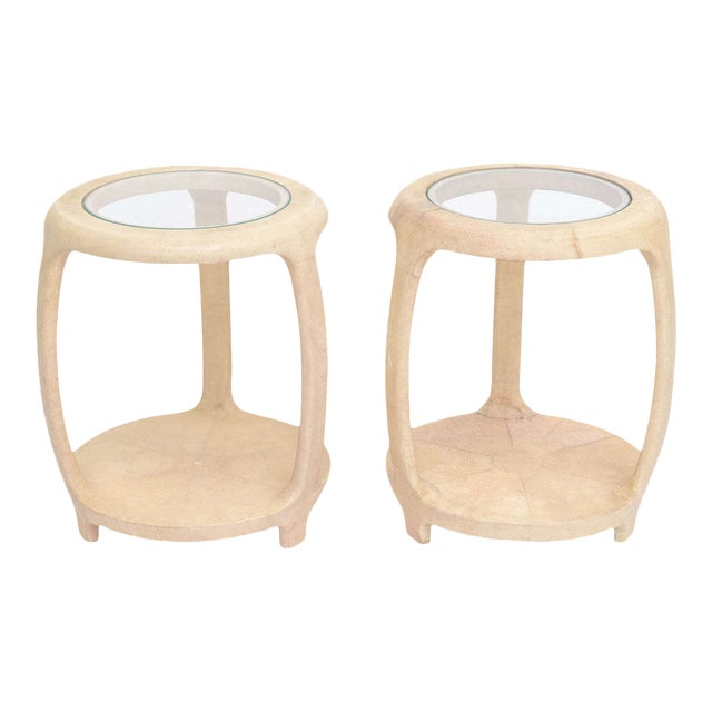 Pair of American Modern Shagreen and Glass Side Tables by Maitland-Smith For Sale