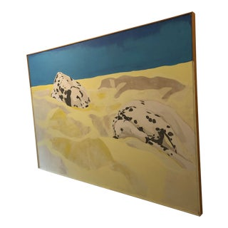 Vintage Mid-Century Dalmatians Large Format Framed Original Acrylic on Canvas Painting For Sale