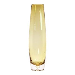 1960s Vintage Aseda Yellow Glass Bullet Vase For Sale