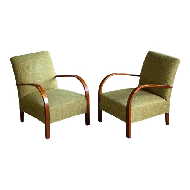 Early Midcentury Danish Art Deco Low Lounge Chairs- A Pair For Sale