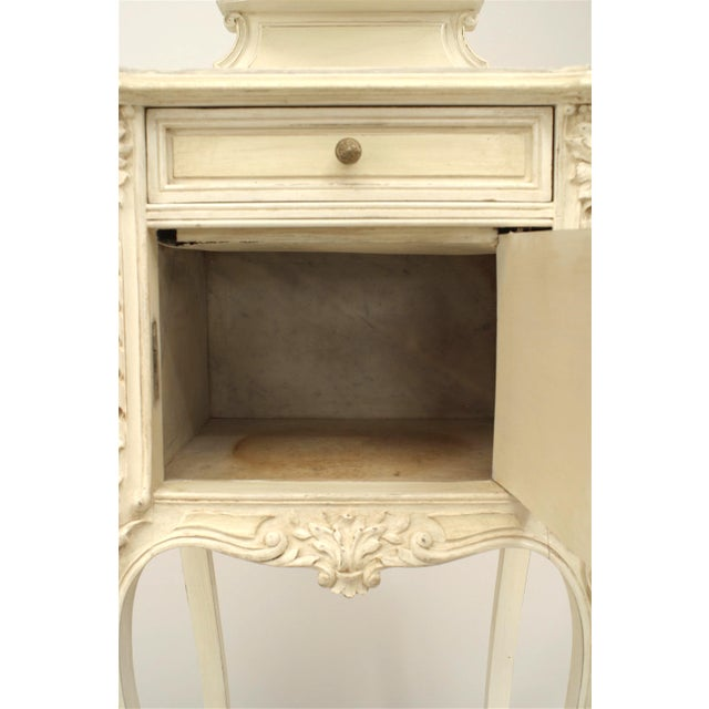 French Victorian White Bedside Commode For Sale - Image 4 of 5