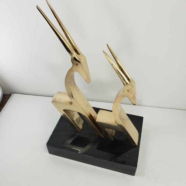 Vintage Brass 2 Gazelle Sculpture Mid Century Modern Table Art For Sale - Image 11 of 12