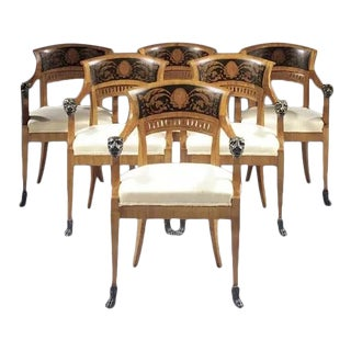North Italian Cherrywood and Ebonised Armchairs- Set of 6 For Sale