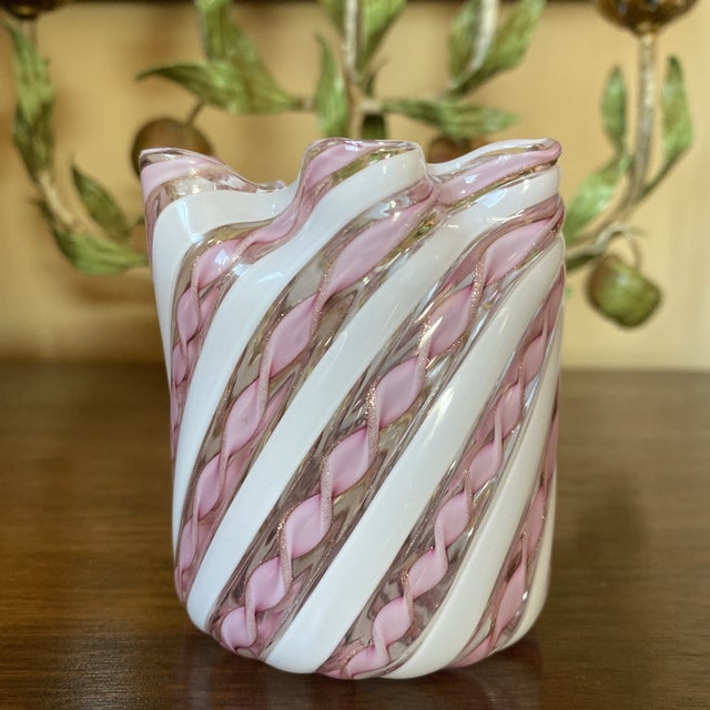 Fratelli Toso Murano Glass Zanfirico Pink Ribbon Handkerchief Vase For Sale - Image 12 of 12