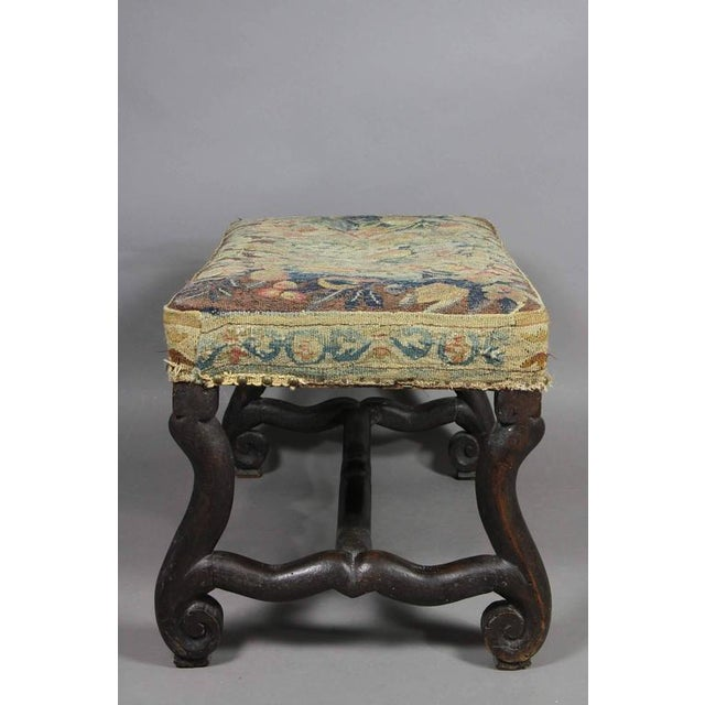 Louis XIV Walnut Os De Mouton Bench With Tapestry Seat For Sale - Image 4 of 8