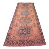 "Image of 1960's Vintage Turkish Hand-Knotted Wide Runner Rug - 4'1"" X 11'5"" For Sale"